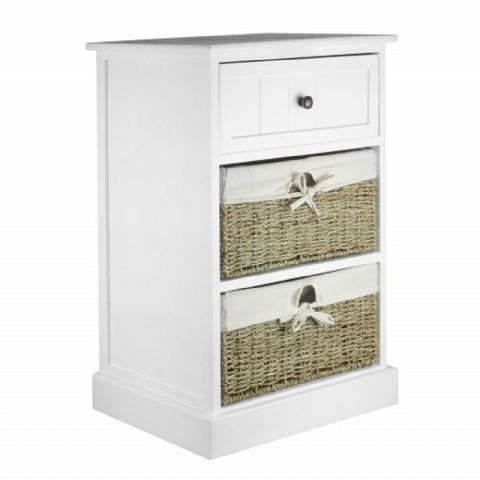 White Bedside Table with 2 Wicker Drawers H 70 x W 42cm